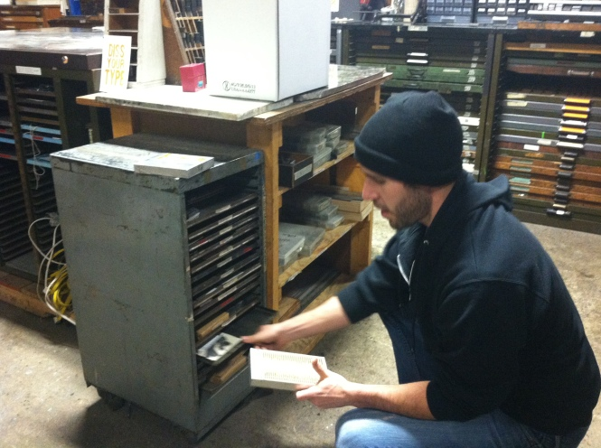 Pulling out the letter press plates for the cover.
